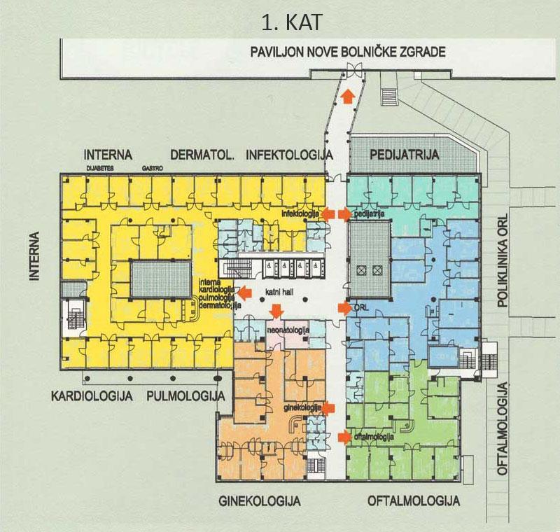 Plan bolnice - 1. kat
